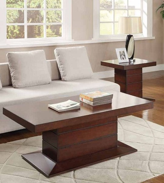 Nast Contemporary Cherry Wood 3pc Coffee Table Set HE-3467-OCT-S