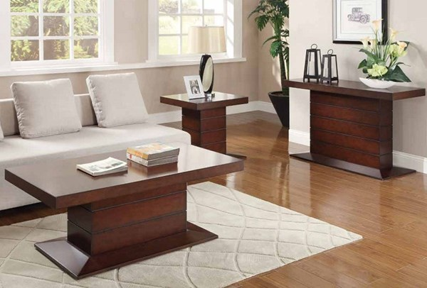 Nast Contemporary Cherry Wood Coffee Table Set HE-3467-OCT