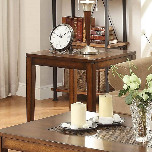 Antoni Transitional Warm Brown Cherry Wood Shelf End Table HE-3504-04