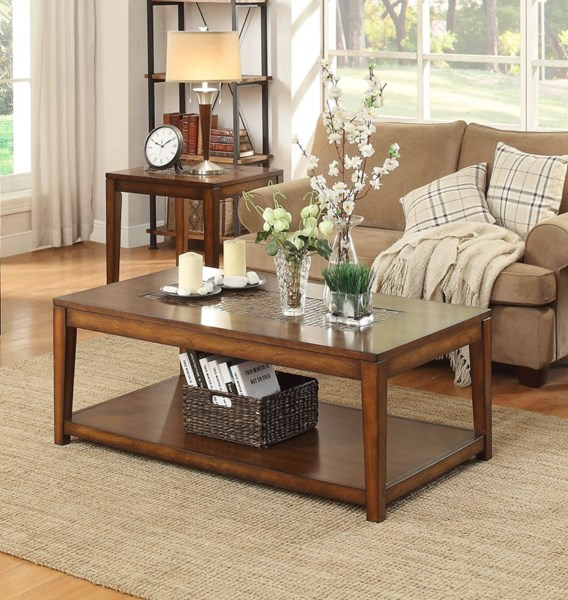 Antoni Transitional Warm Brown Cherry Wood 3pc Coffee Table Set HE-3504-OCT-S1