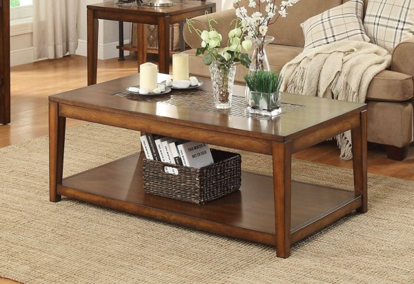 Antoni Transitional Cherry Wood Shelf On Casters Cocktail Table HE-3504-30