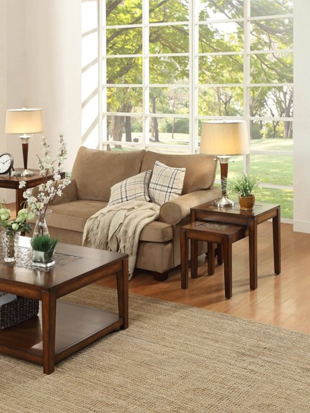Antoni Transitional Warm Brown Cherry Wood One Pair Nesting Tables HE-3504-NT