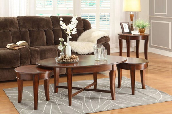 Violetta Transitional Warm Cherry Wood Coffee Table Set HE-3507-OCT