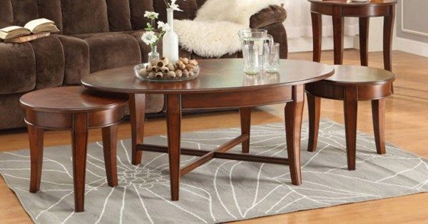 Violetta Transitional Warm Cherry Wood 3 in 1 Pack Occasional Table HE-3507-30