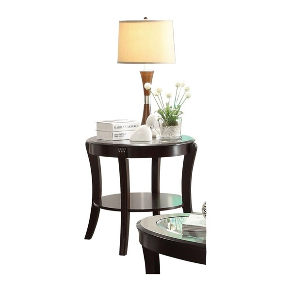 Home Elegance Pierre Rich Espresso End Table with Glass Insert HE-3508-04