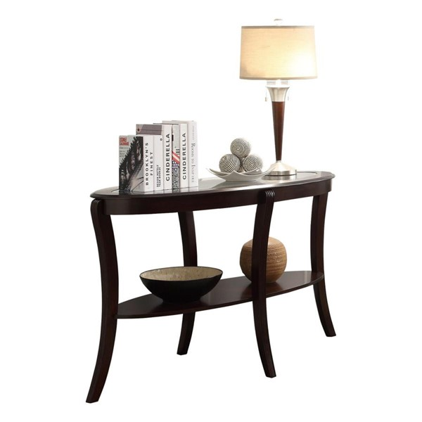 Home Elegance Pierre Rich Espresso Sofa Table with Glass Insert HE-3508-05