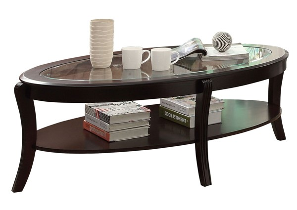 Home Elegance Pierre Rich Espresso Cocktail Table with Glass Insert HE-3508-30