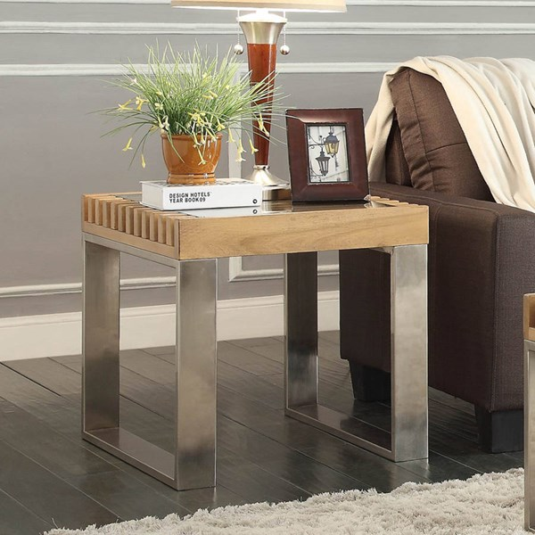 Raeburn Contemporary Natural Wood Glass Top End Table HE-3511-04
