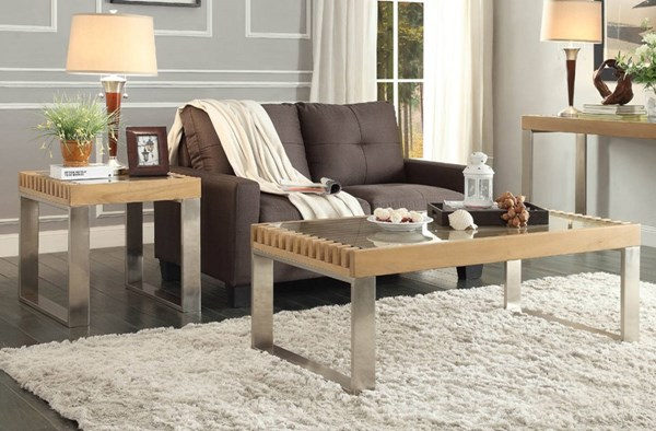 Raeburn Contemporary Wood Glass Top 3pc Coffee Table Set HE-3511-OCT-S