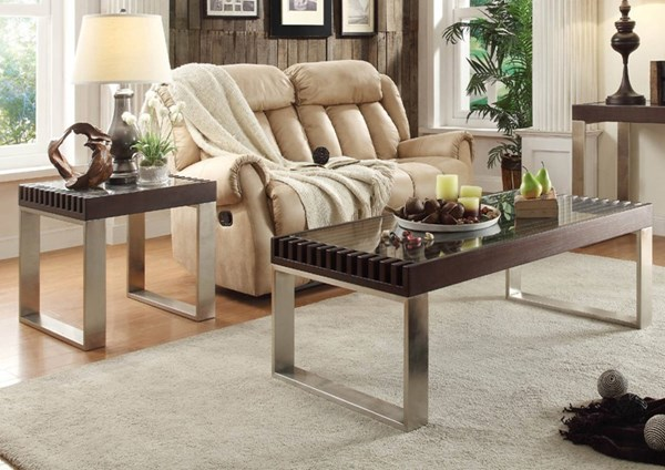 Raeburn Contemporary Espresso Wood Glass Top 3pc Coffee Table Set HE-3511-OCT-S2