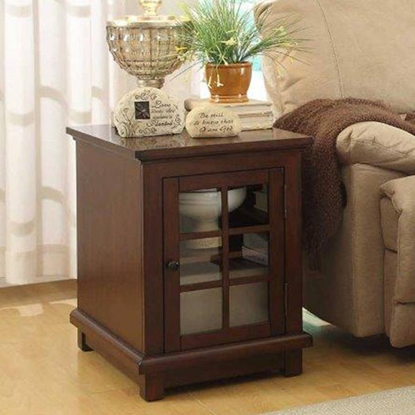 Bellamy Transitional Warm Cherry Wood Glass End Table HE-3512-04
