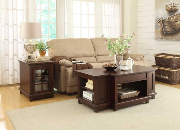Bellamy Transitional Warm Cherry Wood Glass Coffee Table Set HE-3512-OCT