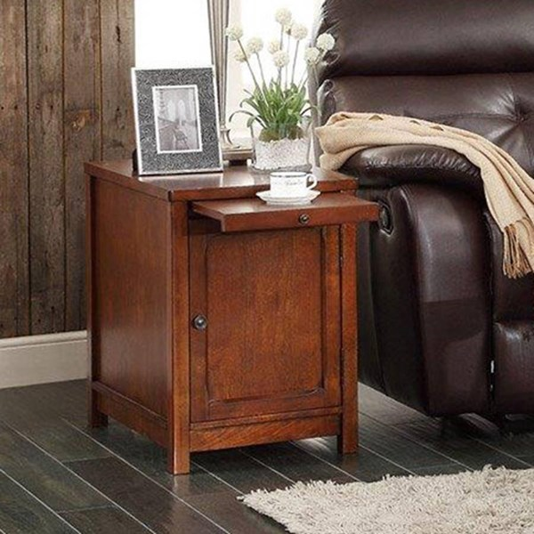 Booker Transitional Warm Brown Wood Slide Out Tray End Table HE-3513-04