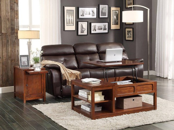 Booker Transitional Warm Brown Wood Coffee Table Set HE-3513-OCT