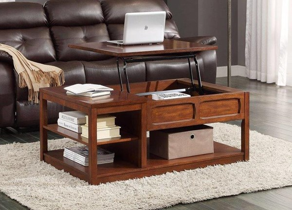 Booker Transitional Brown Wood Lift Top On Casters Cocktail Table HE-3513-30