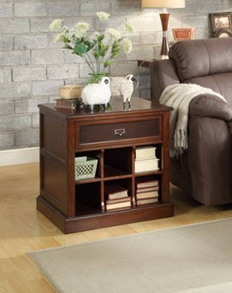 Friedrich Warm Brown Wood Functional Drawer End Table HE-3514-04
