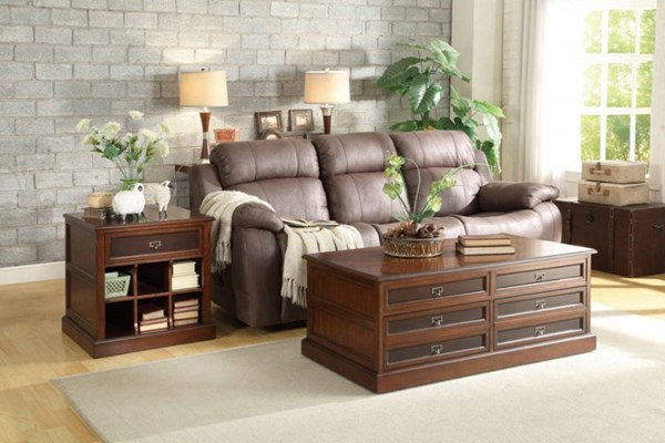 Friedrich Warm Brown Wood 3pc Coffee Table Set HE-3514-OCT-S1