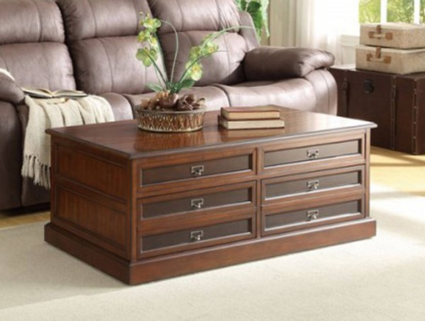 Friedrich Warm Brown Wood Lift Top On Casters Cocktail Table HE-3514-30