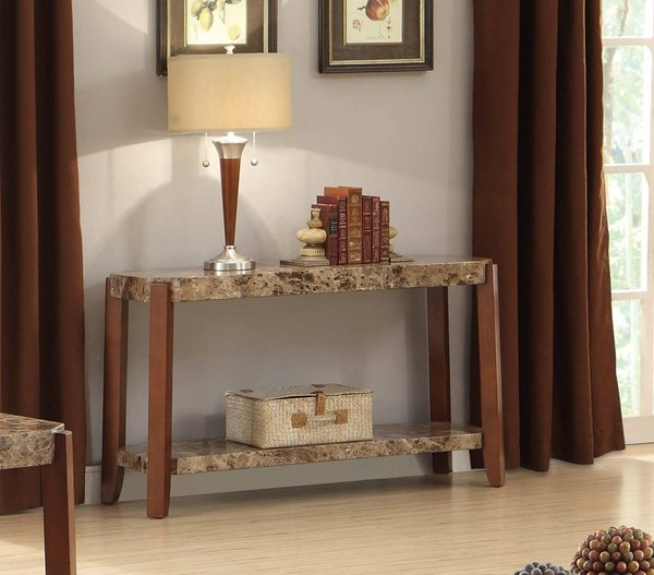 Indra Transitional Cherry Wood Faux Marble Sofa Table HE-3515-05