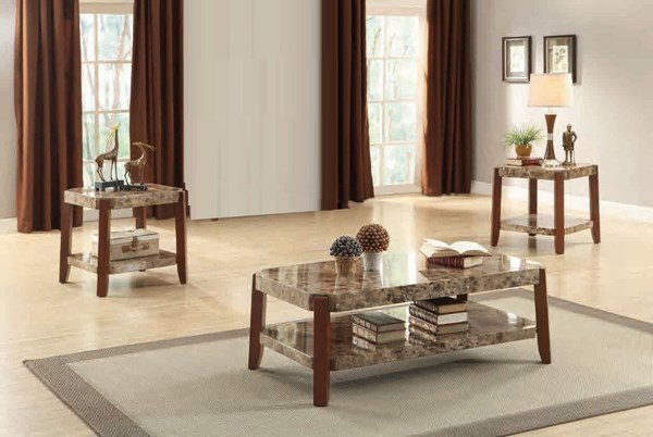 Indra Cherry Wood Faux Marble 3 In 1 Pack Occasional Table HE-3515-31