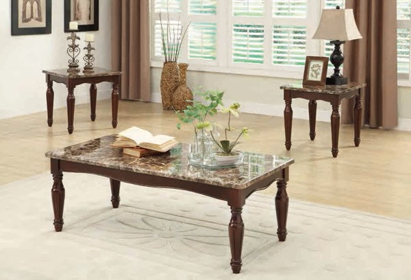 Freja Traditional Wood Faux Paper Marble 3-Piece Occasional Tables HE-3516-31
