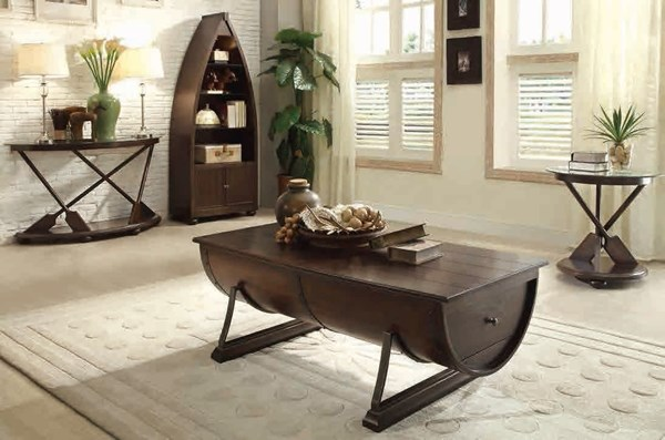 Hatchett Lake Classic Wood Metal 3pc Coffee Table Set HE-3522-OCT-S1