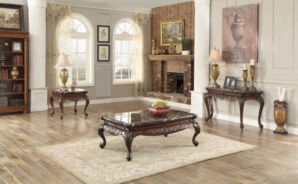 Mariacarla Traditional Cherry Wood Coffee Table Set HE-3526-OCT