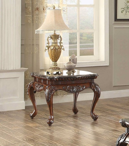 Mariacarla Traditional Cherry Wood Genuine Marble Top End Table HE-3526-04