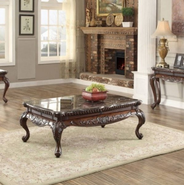 Mariacarla Traditional Cherry Wood Genuine Marble Top Cocktail Table HE-3526-30