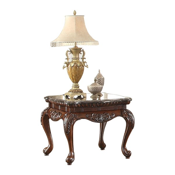 Home Elegance Mariacarla End Table with Marble Top HE-3526-04