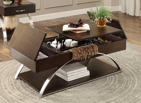 Home Elegance Tioga Espresso Cocktail Table with Lift Top and Storage HE-3533-30