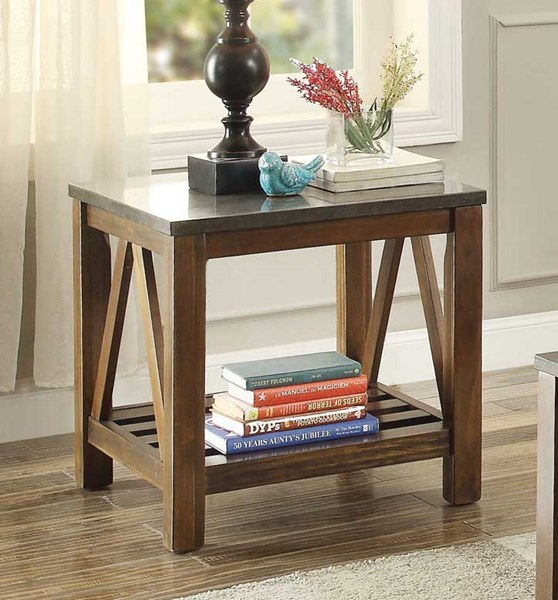 Home Elegance Ashby Oak End Table with Bluestone Marble Top HE-3552-04