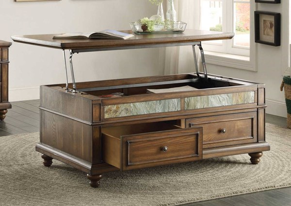 Home Elegance Chehalis Cocktail Table with Lift Top and Two Drawers on Casters HE-3581-30
