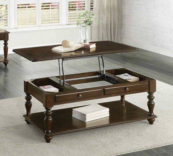 Home Elegance Lovington Cocktail Table with Lift Top on Casters HE-3587-30