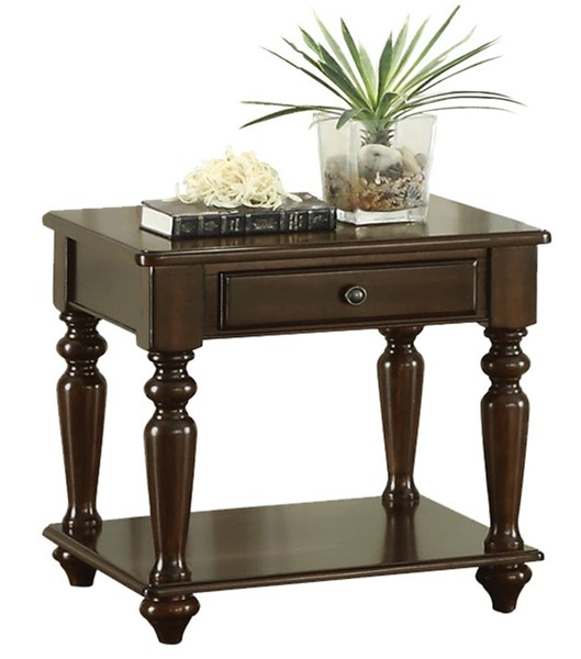 Home Elegance Lovington End Table with Functional Drawer HE-3587-04