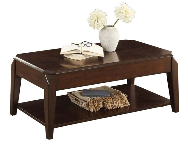 Home Elegance Sikeston Warm Cherry Cocktail Table with Lift Top on Casters HE-3588-30