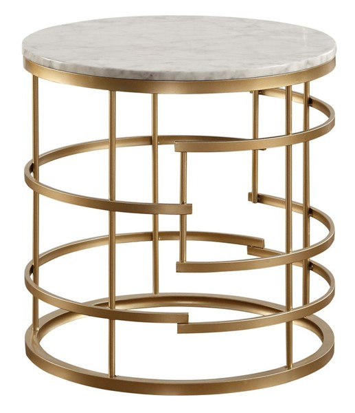 Home Elegance Brassica Gold Round End Table HE-3608-04