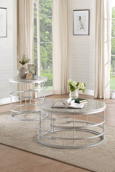 Home Elegance Brassica Silver Large 3pc Coffee Table Set HE-3608-OCT-S3