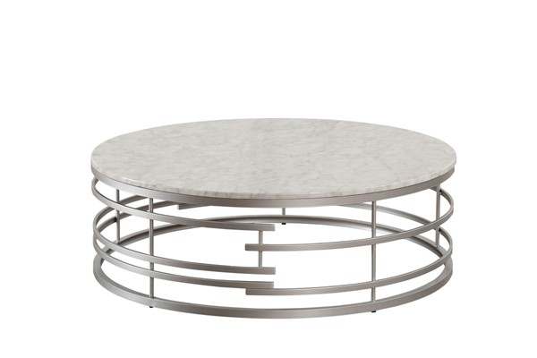 Home Elegance Brassica Silver Large Round Coffee Table HE-3608SV-01XL