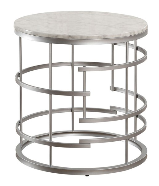 Home Elegance Brassica Silver Round End Table HE-3608SV-04