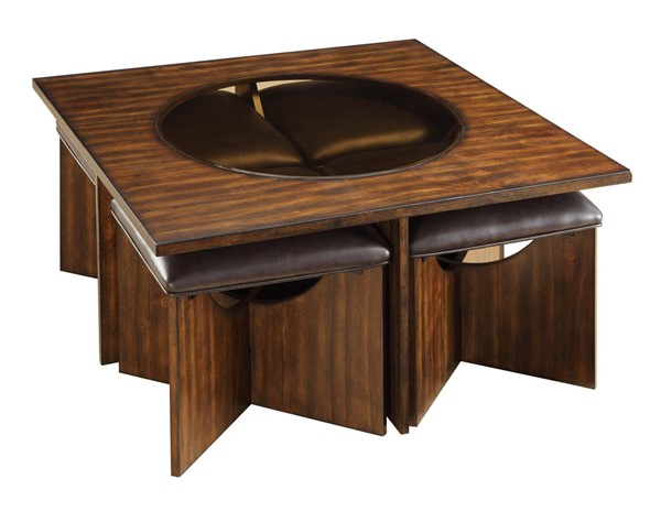 Home Elegance Akita Cherry Cocktail Table with 4 Stools HE-3614-01