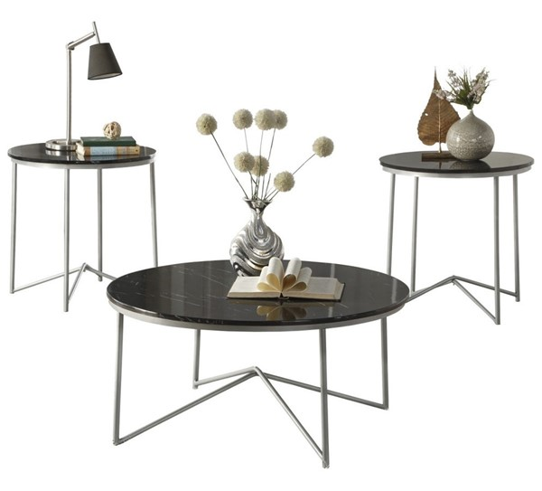 Home Elegance Perivale Black Silver 3pc Occasional Tables HE-3623-31