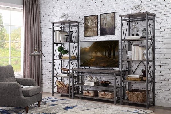 Home Elegance Laurel Hill Antique Gray Entertainment Center with TV Stand HE-36340-ENT-S1