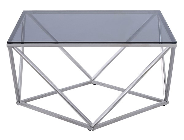 Home Elegance Rex Chrome Gray Cocktail Table HE-3648-01