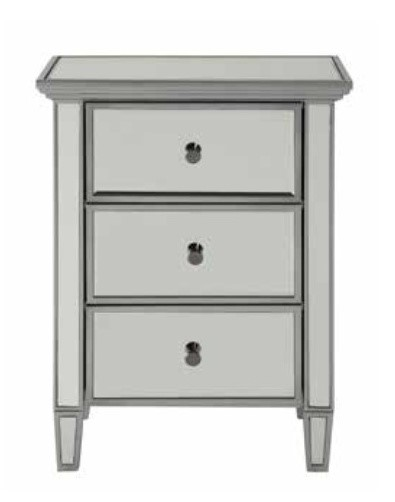 Home Elegance Bichon Silver 3 Drawers Cabinet HE-4542