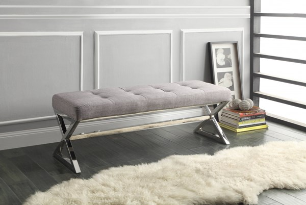 Rory Grey Fabric Metal Armless X Base Bench HE-4605GY