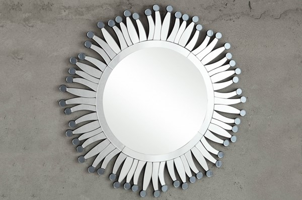 Reflective Contemporary Glass Round Wall Mirror HE-4645M