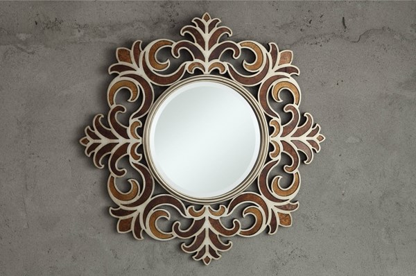 Reflective Contemporary Brown Crown Frame Glass Wall Mirror HE-4646M