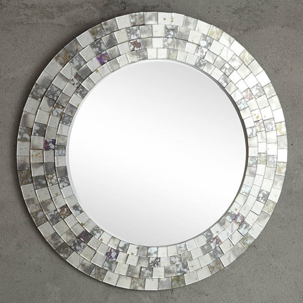 Reflective Contemporary Glass Metal Round Wall Mirror HE-4648M