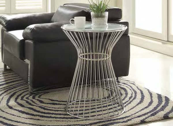 Lila Modern Chrome Metal Glass Insert Round End Table HE-4662